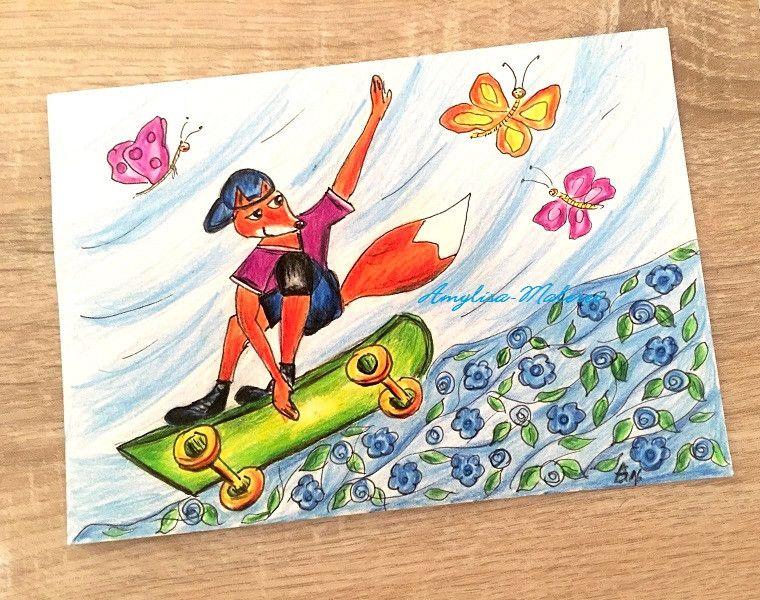 "LenzLyrik,+""+jumping+on+the+skateboard""+von+Amylisa-Malerei+++auf+DaWanda.com"