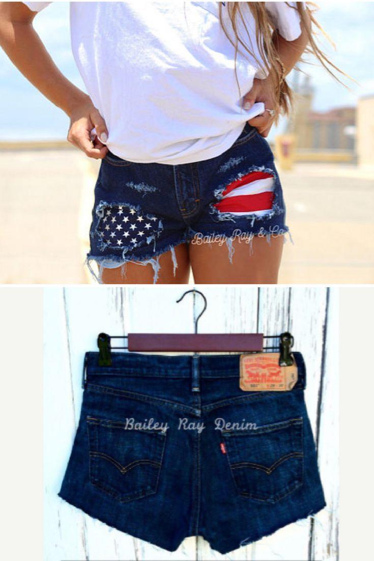 e7d31d202684 Levis High waisted Denim Shorts -  Merica   patriotic shorts    american   flag  shorts   xxs xs s m l xl xxl    destroyed ...