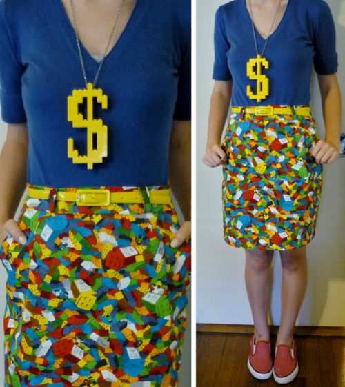 5c4033cfa90 I am LIVING for this Lego skirt and bling.