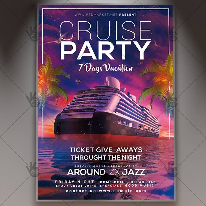 Cruise Vacation Premium Flyer Psd Template Psdmarket Flyer Flyer Template Cruise Party
