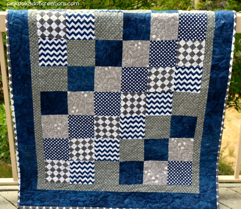 Photo of Baby Boy Quilt – Pink Polka Dot Creations