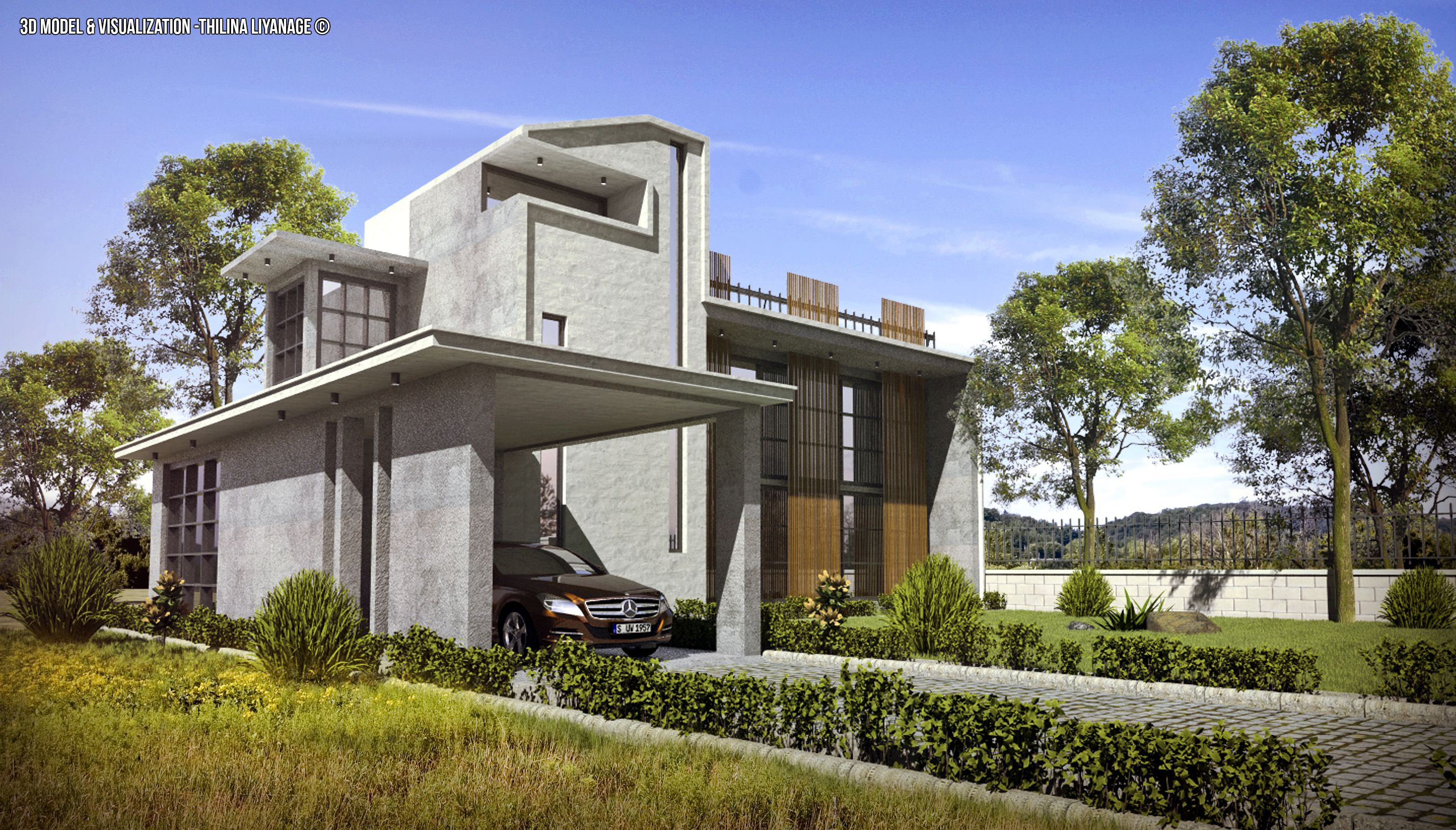 Exterior: Modern House 3d Scene Made With Sketchup Vray And Adobe