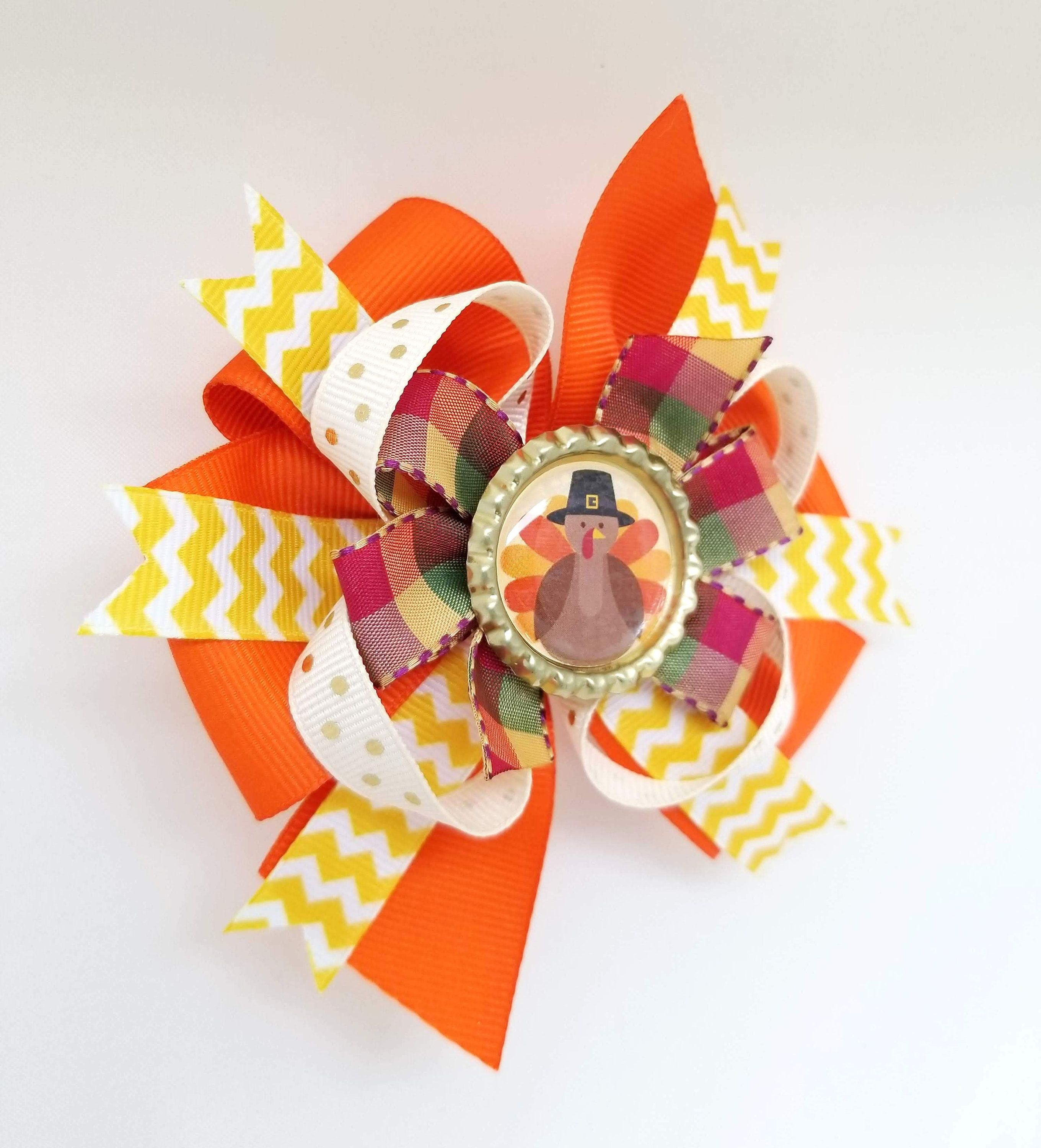 Thanksgiving Hair Bow- Turkey Bow Headband- 4 inch Pinwheel Bow with bottle cap on barrette- Orange Mustard Brown Girls Thanksgiving outfit #thanksgivingoutfit