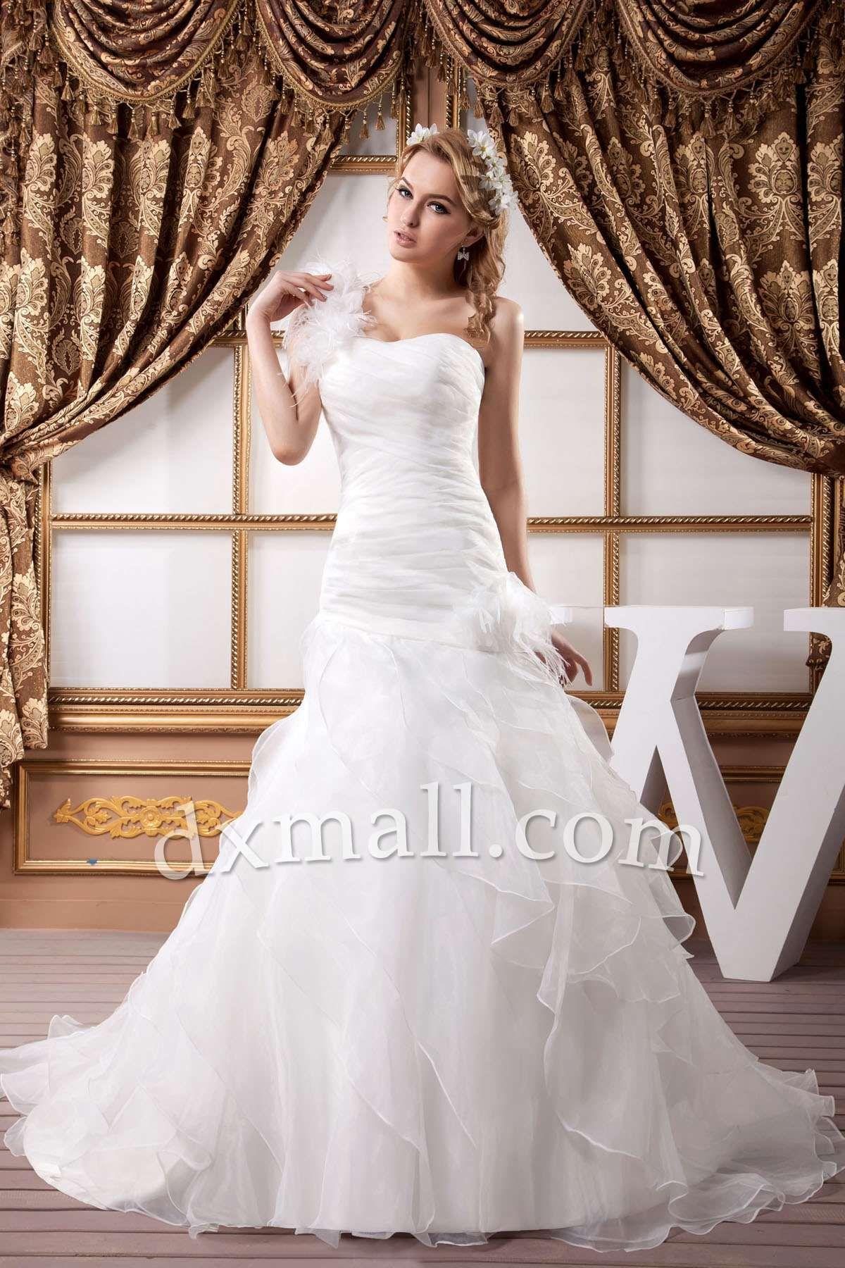 Dropped waist wedding dress  Drop Waist Wedding Dresses One Shoulder Court Train Organza Satin
