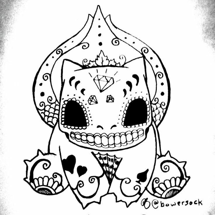 Bulbasaur De La Muerte 3 Pokemon Tattoo Old School Tattoo Designs Pokemon Coloring Pages