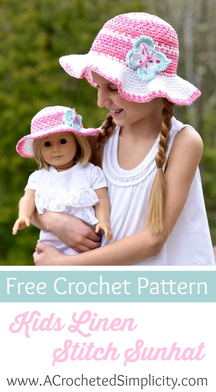Free Crochet Pattern - Kids Linen Stitch Sunhat by A Crocheted ...