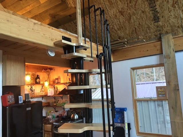 Adam And Karenu0027s Tiny House In Equinunk PA: Tiny House Spiral Staircase: ...