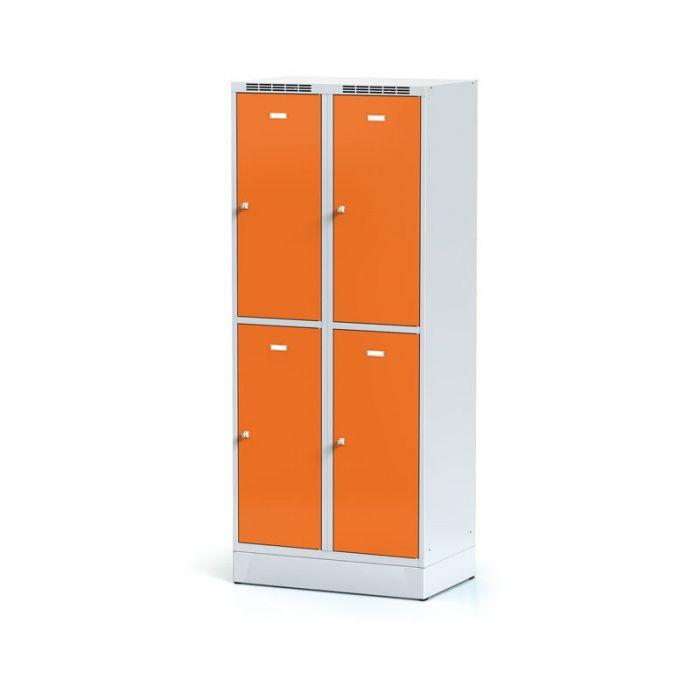 Wardrobe on plinth, 4 boxes, orange door, cylindrical …