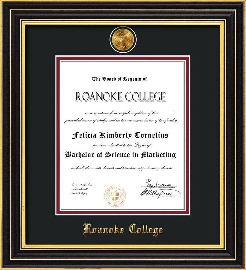 Roanoke College Diploma FrameSatin Blackw/RC Medallion