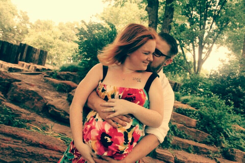 Our maternity shoot went great! 9 months pregnant. Spring time photo!