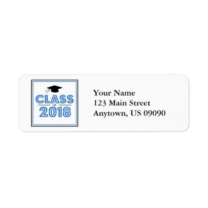 class of 2018 return address labels blue black return address