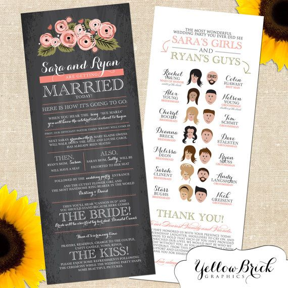 Rustic Sara Wedding Program With Cartoon Ilration By Yellowbrickgraphics 40 For A Digital File Creative