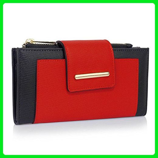 37bb1b786583 Purses For Teen Girls Ladies Stylish Purse Faux Leather Flap Snap Closure Coin  Purse Wallets (Black/Red) - Clutches (*Amazon Partner-Link)
