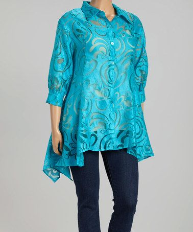 Look what I found on #zulily! Turquoise Sheer Ring Sidetail Jacket - Plus by Come N See #zulilyfinds
