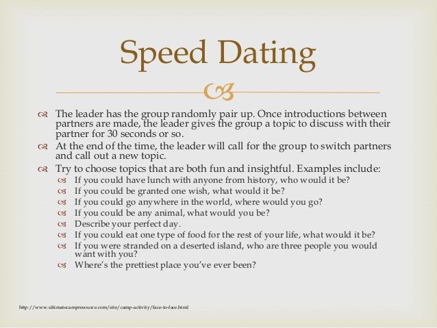 speed dating icebreaker games Icebreaker games for small groups are a great way to get new mixer - taking the idea from speed dating, this icebreaker is a great informal way for group.