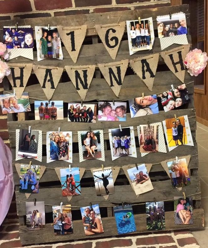 Sweet 16 Birthday Party Rustic Pallet Twine Photo Display Sweet 16 Party Decorations Sweet 16 Themes Sweet 16 Birthday Party
