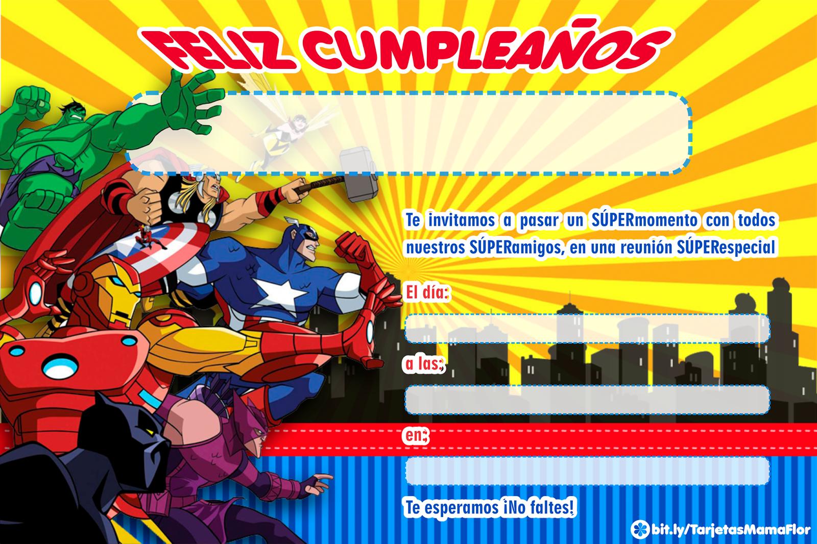 Los Vengadores Cumpleaños De Los Vengadores Tarjetas De