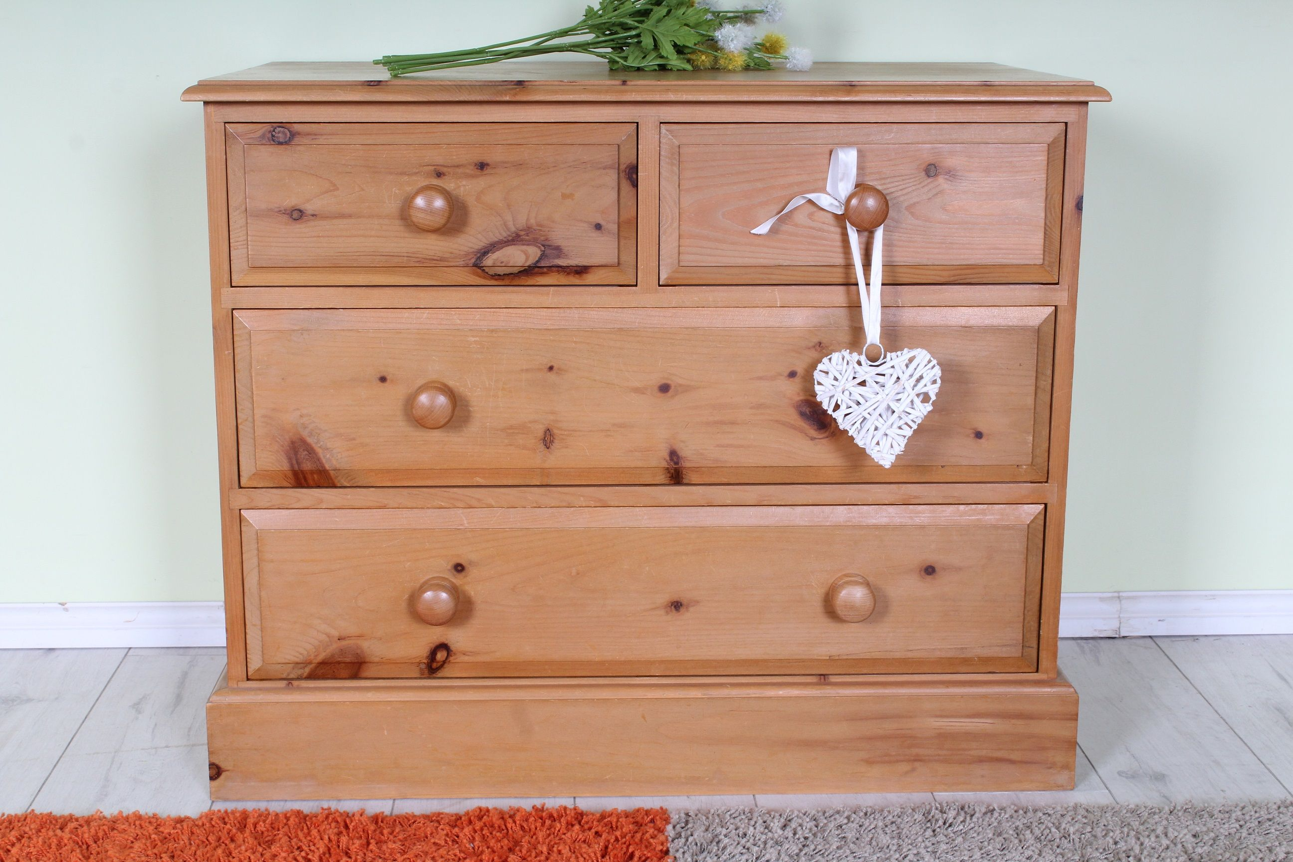 Pine chest of drawers 2 over 2, solid throughout....