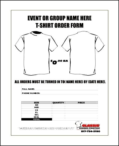 Free TShirt Order Forms Templates Word  Besttemplates