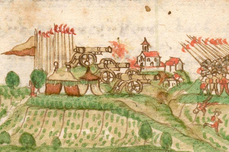 Bauernkrieg in Schwaebisch Hall.  Haller und Bauern stehen sich bei Gottwoltshausen gegenüber.