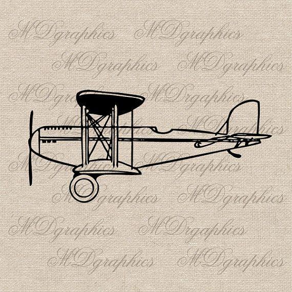 Airplane Biplane Graphic Illustrations Printable By Mdgraphics 3 00 Graphic Illustration Dotted Drawings Airplane Tattoos