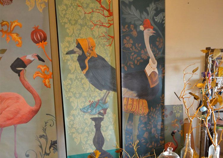 papier peint sandrine chambery corbeau noir décoration | Wallpaper ...