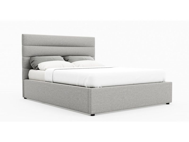 Queen Size Gas Lift Fabric Bed Frame Benny Collection Stone Beige