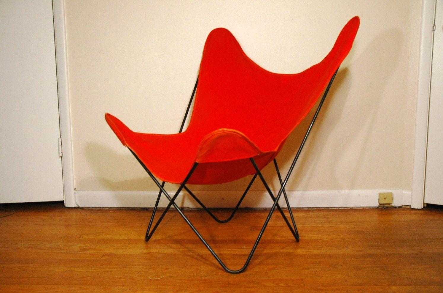 Knoll Hardoy Butterfly Chair   Mid Century Modern Orange B.K.F. Chair.  $225.00, Via Etsy