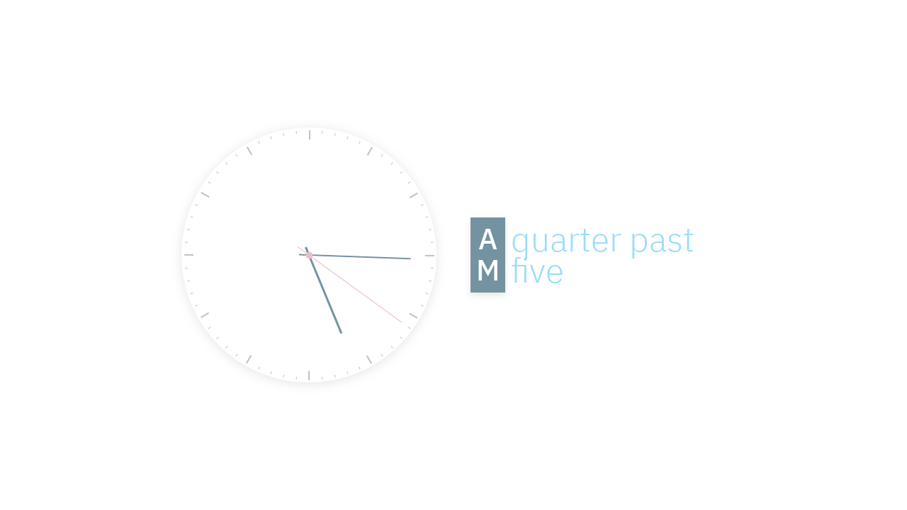 A text-based clock that maps the current time to natural-language