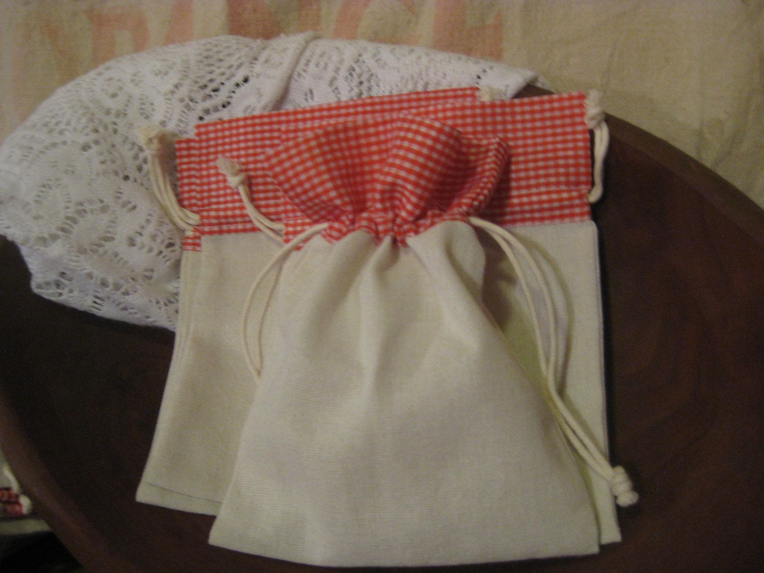 For Kids Favor Bags // Cotton Bag with Red Gingham Top Drawstring Set of 4. $4.50, via Etsy.