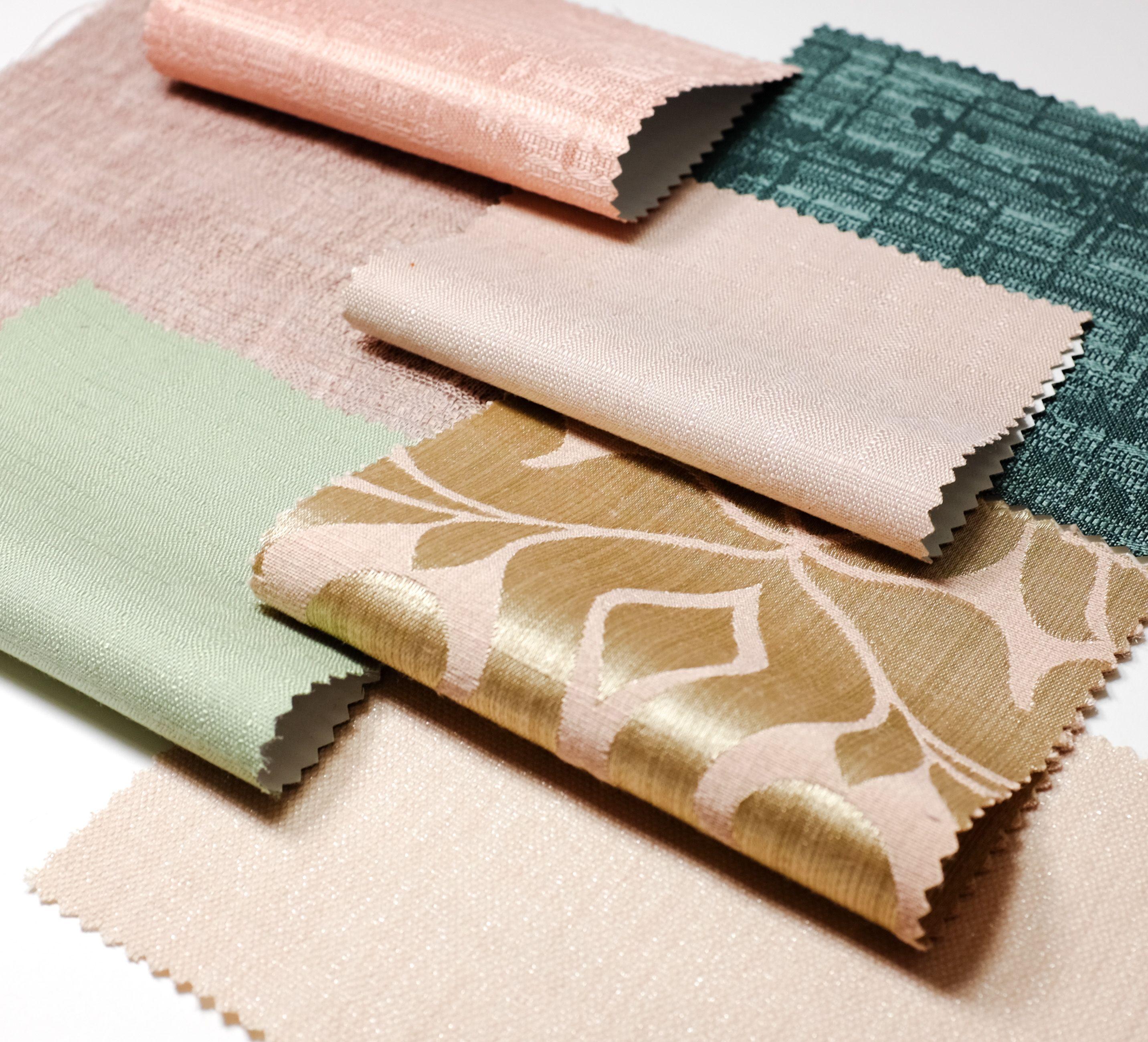 Wilson Fabrics Drapery Moodboard Fabric Textiles Curtains Drapery Pink Green Pastel Moodboard Flatlay Buy Fabric Online Buy Fabric Fabric