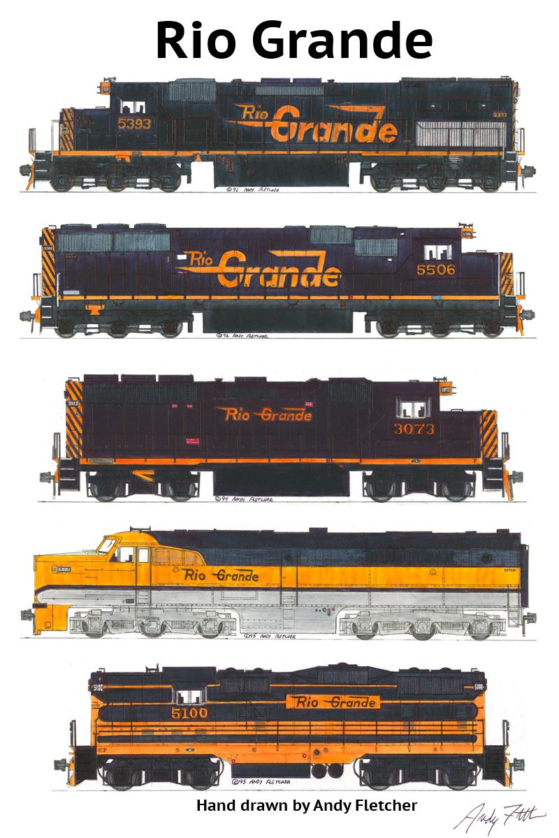 5 hand draw Rio Grande locomotive drawings by Andy Fletcher
