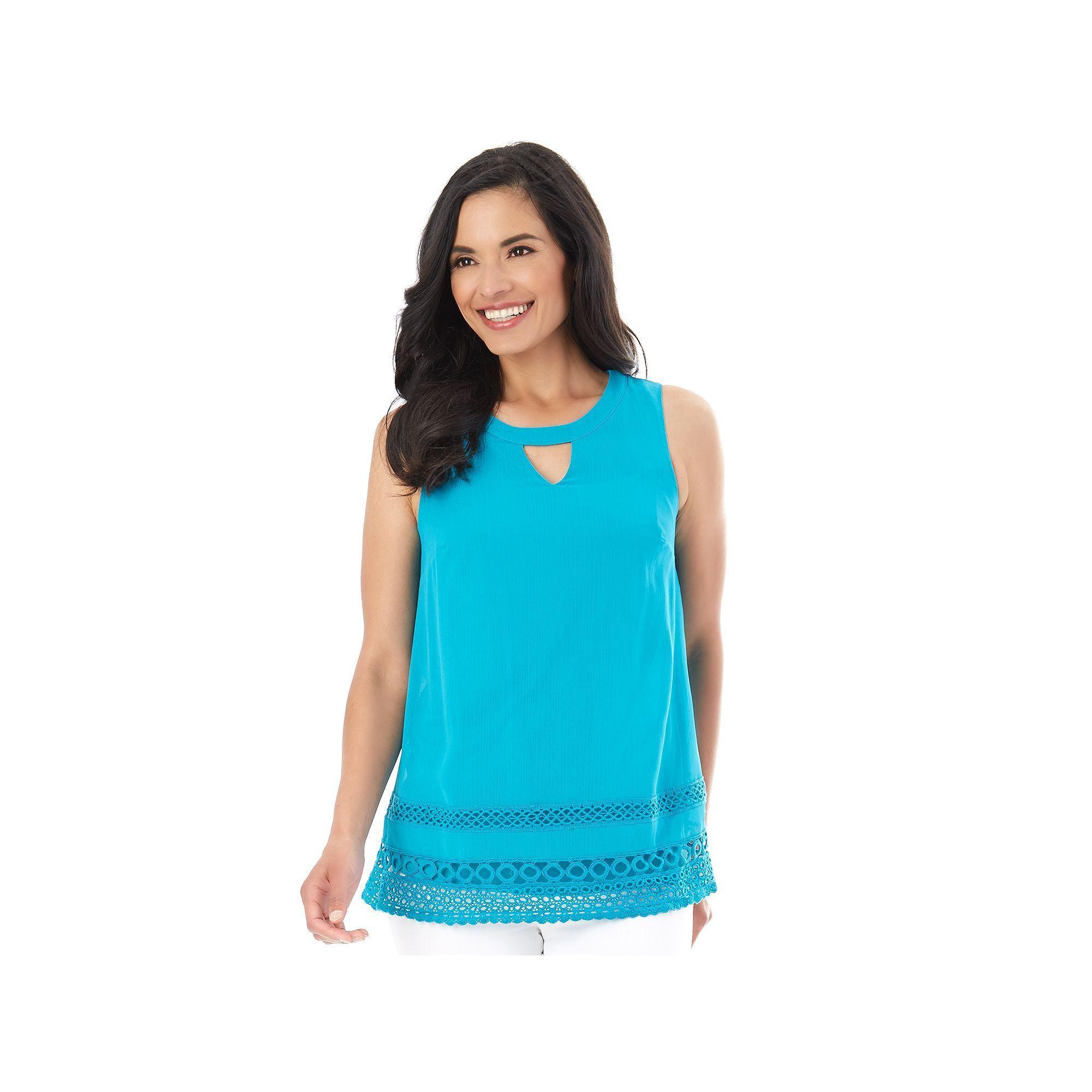 Women's AB Studio Crochet-Hem Keyhole Tank, Size: Xlrg Av/Rg, Turquoise/Blue (Turq/Aqua)