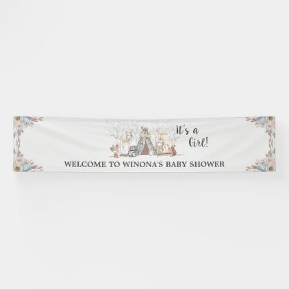 Chic Tribal Woodland Animals Baby Shower Backdrop Banner