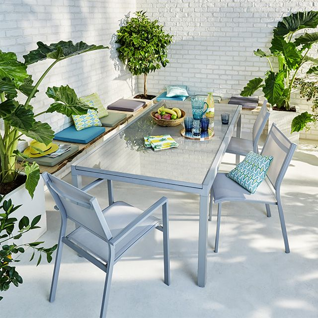 Lot table de jardin Verena + 4 chaises de jardin + 2 ...
