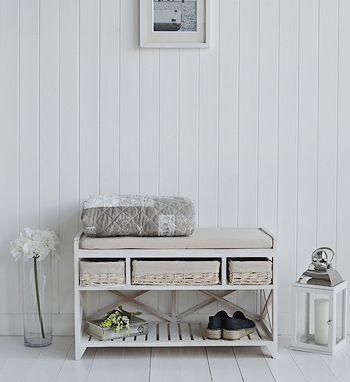 Cape Cod White Wash Storage Furniture Hall Shoe Bench Seat
