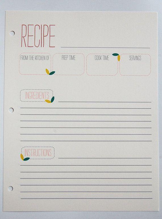 Spring Recipe Cards 8 5 X 11 Recipe Cards Recipe Cards Template Recipe Binder Printables Free