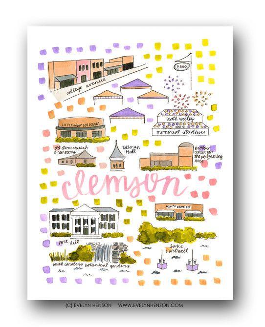 Clemson Sc Map Print Evelyn Henson Www Evelynhenson