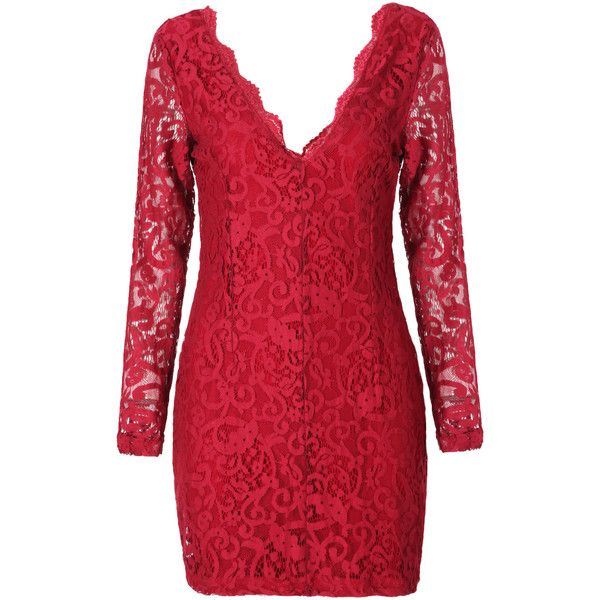 Red V Neck Lace Crochet Bodycon Dress Red Long Sleeve Dress Cocktail Dress Lace Crochet Bodycon Dresses