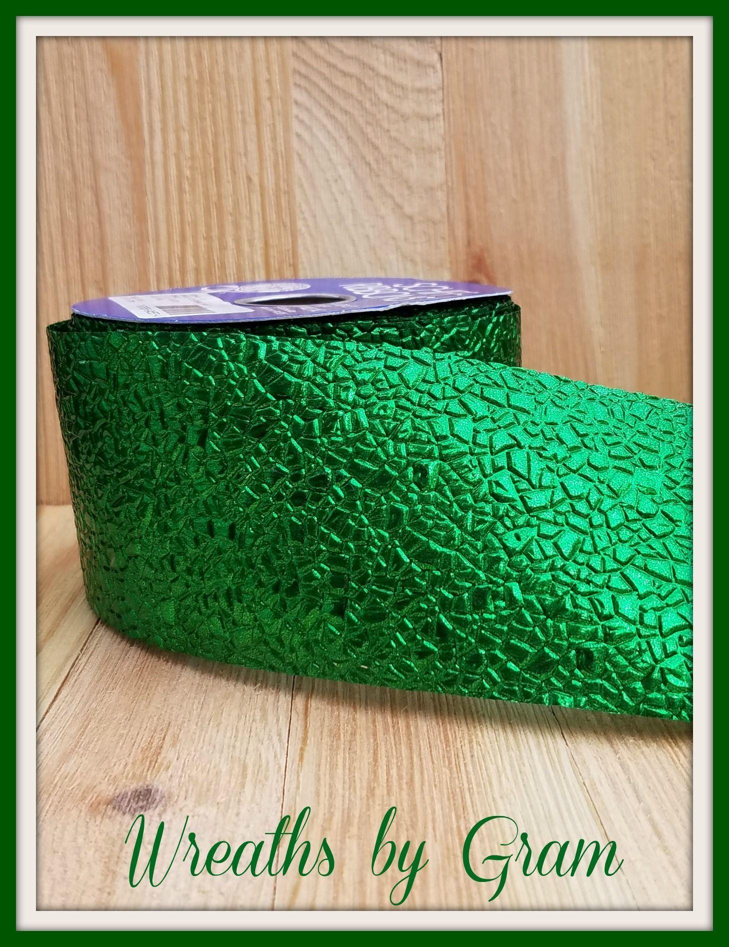 Emerald wedding decor ideas  Green Cracked Ice Ribbon