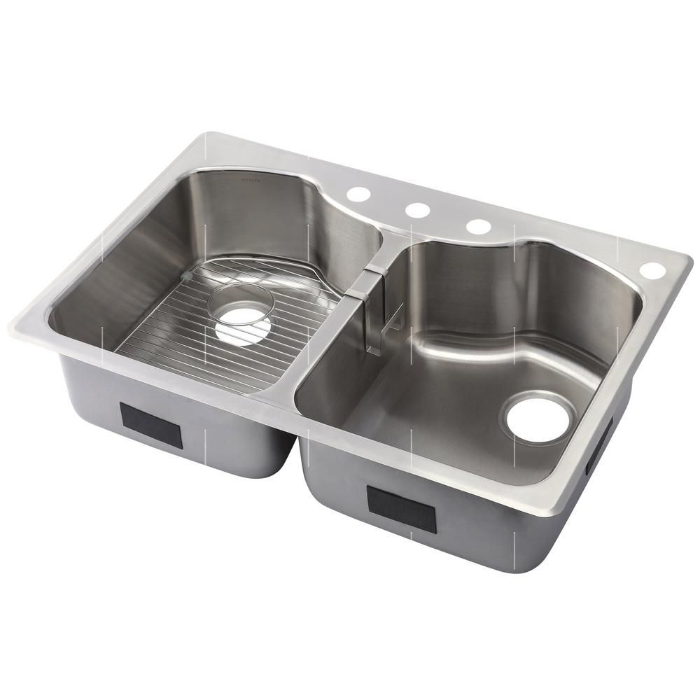 Kohler Octave Dual Mount Stainless Steel 33 In 4 Hole Equal