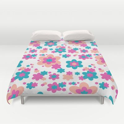 19edbd923873 Teal Blue, Hot Pink, and Coral Floral Duvet Cover. Add matching pillow,  area rug, shower curtain, clock, and wallpaper border #decampstudios