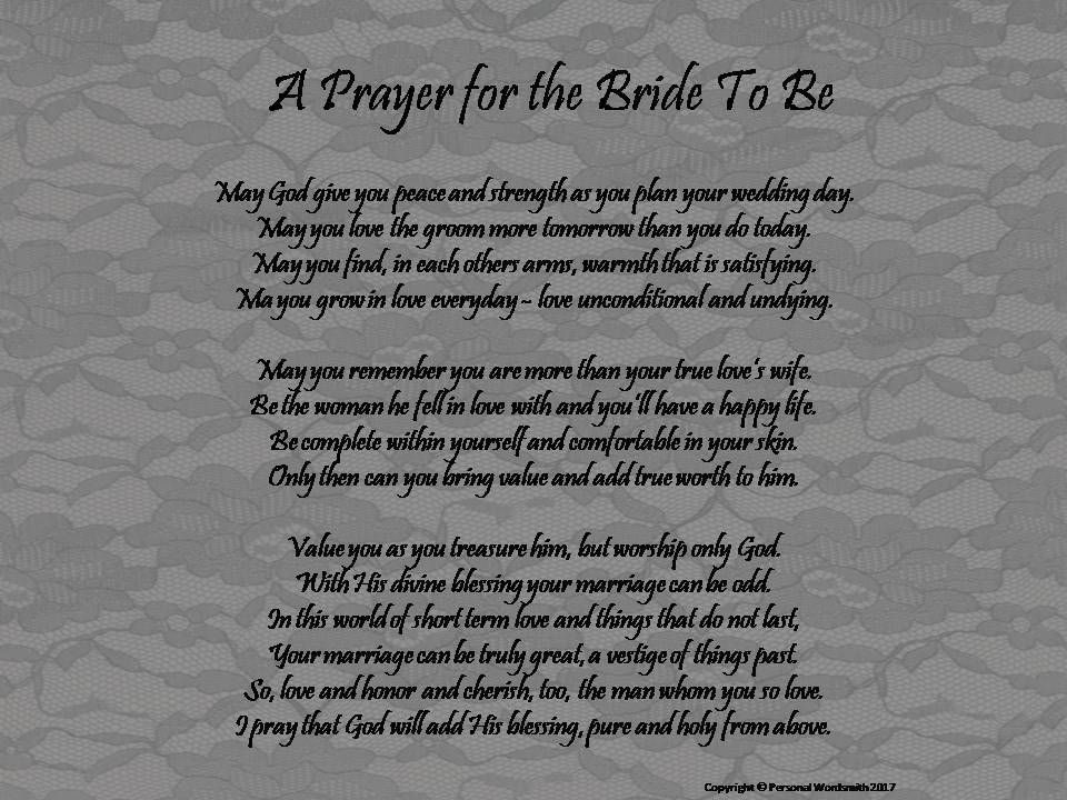 Printable Prayer for the Bride to Be, Prayer for Bride
