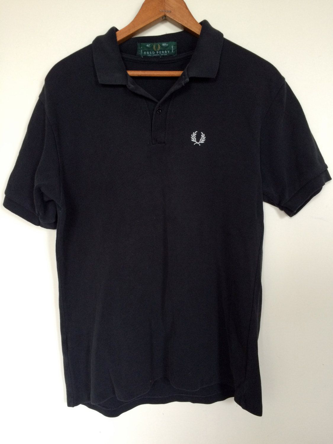 0382a2cd6 Vintage FRED PERRY Polo Shirt | BLACK | Mens Size 42
