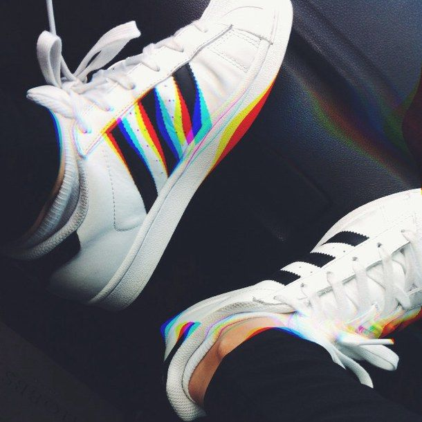 adidas, grunge, hipster, rainbow, shoes, sneakers, trainers