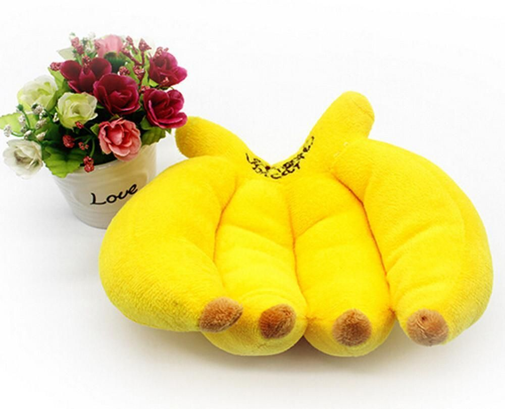 Cute puppy toys banana plush squeaker playing sound toy