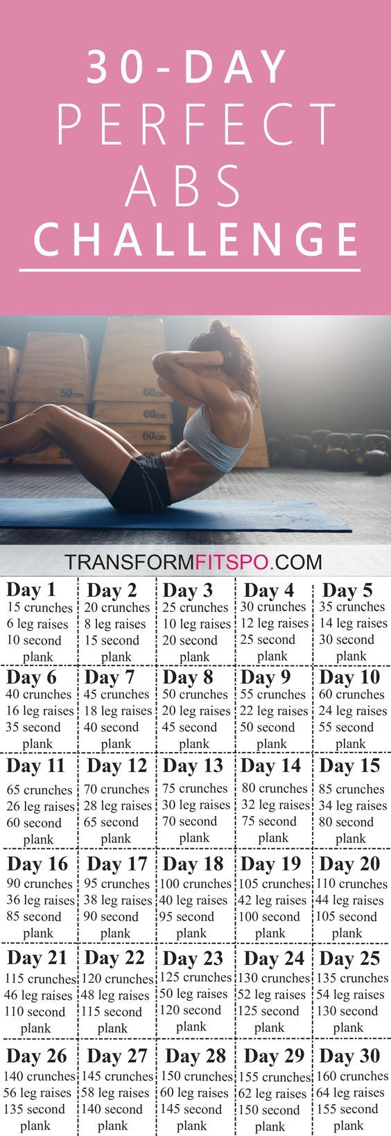 Perfect Abs 30 Day Challenge - One month of workouts to melt belly fat and tone abs! #workoutchallenge