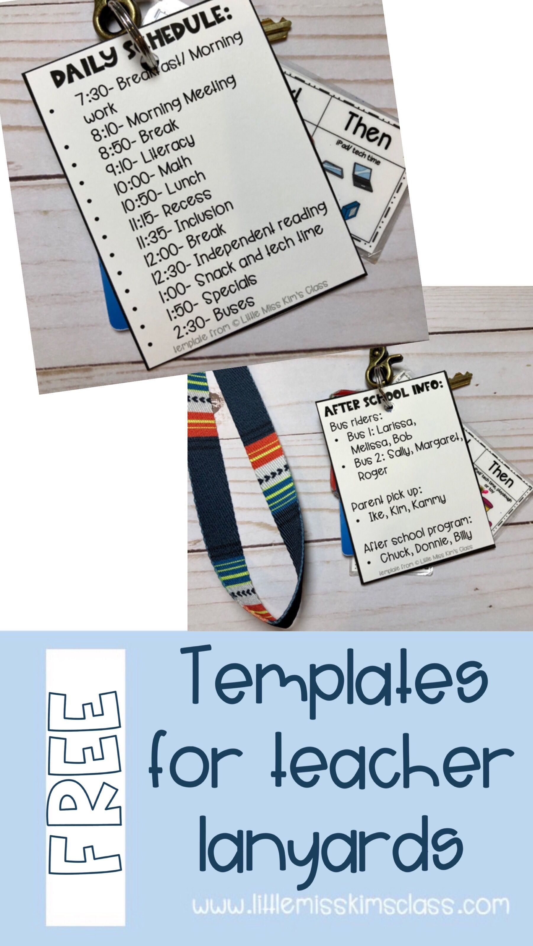 Free Template For Making A Teacher Lanyard For After School Dismissal And Schedule Teacher Lanyard Teacher Classroom Teacher Forms