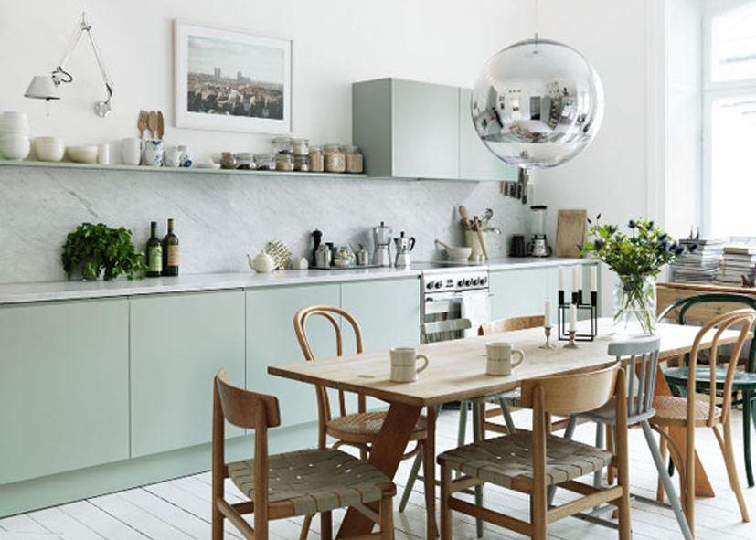Verde menta en la cocina