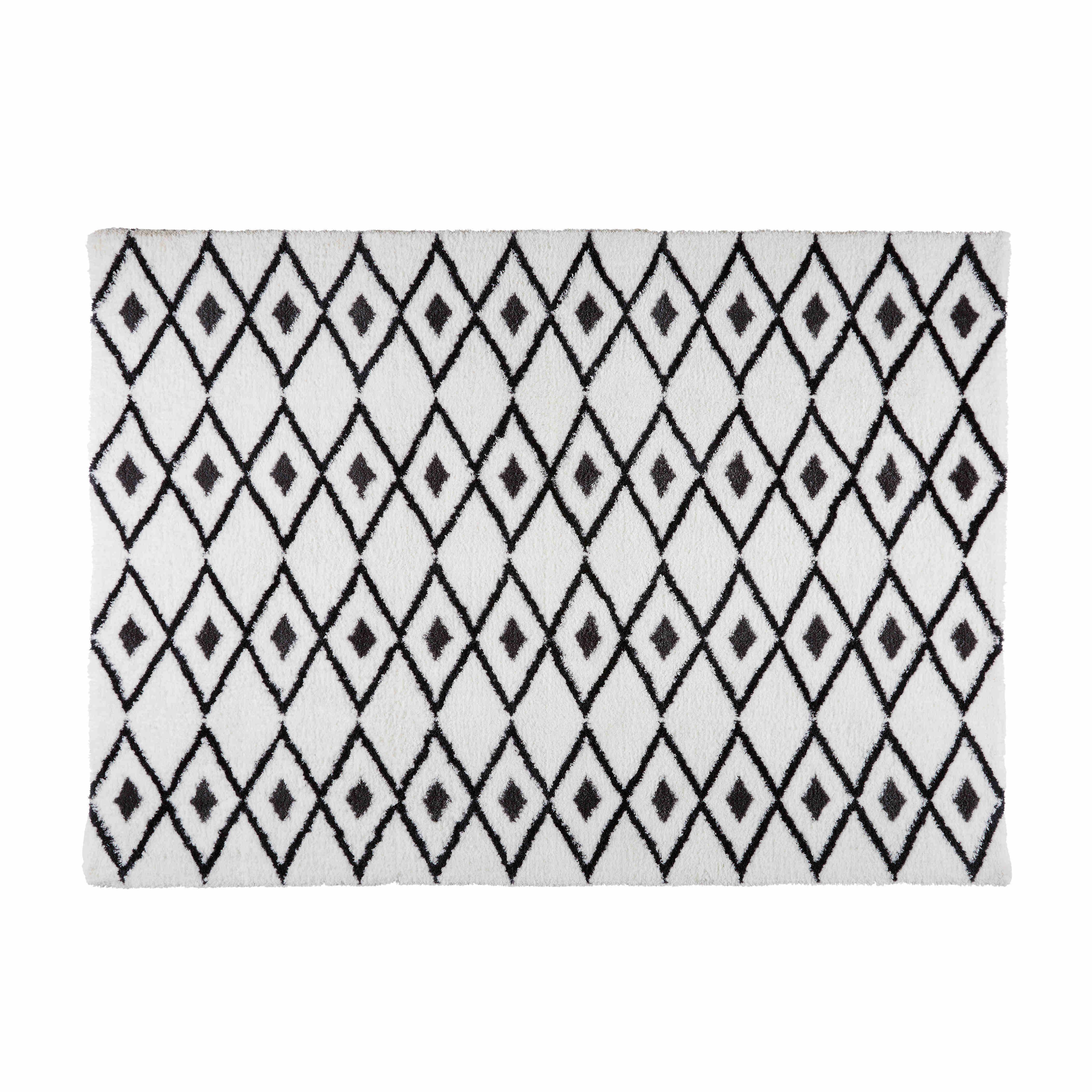 tapis berb re noir et blanc 160x230 salon black white. Black Bedroom Furniture Sets. Home Design Ideas